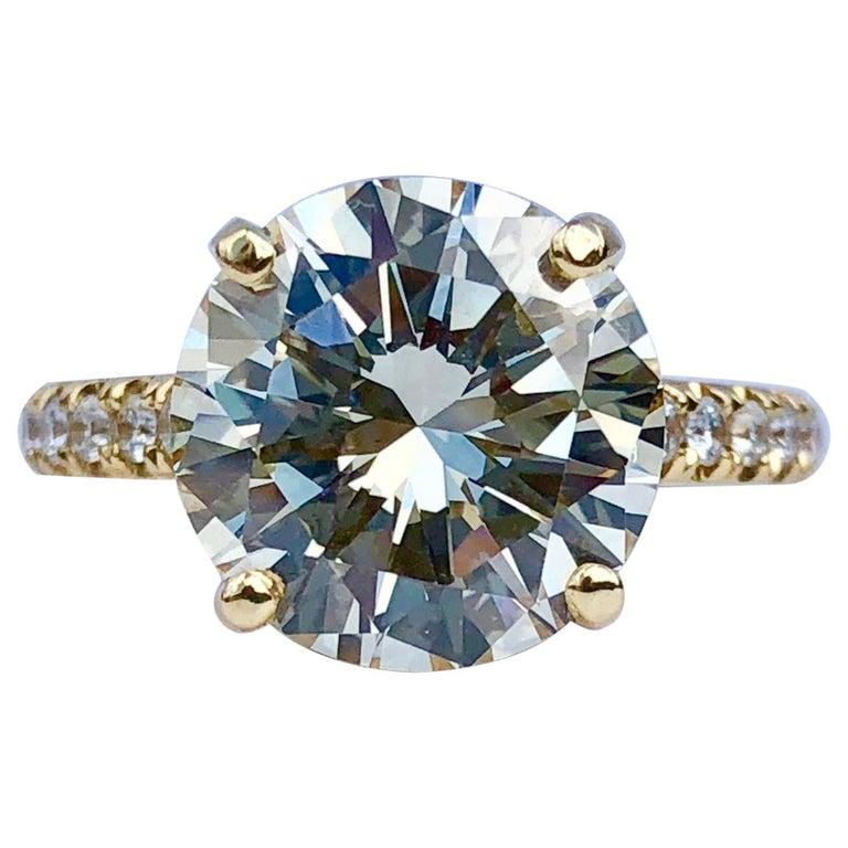 Diamond Brilliant Cut Solitaire Diamond Engagement Ring G.I.A M Colour 4.97ct TW For Sale