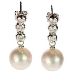 Diamond Brilliant Stripe Japanese Pearl 18 Karat White Gold Stud Drop Earrings
