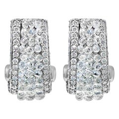 Diamond Briolette Rose Cut and Round Brilliant Cut Ear Clips 18 Karat White Gold