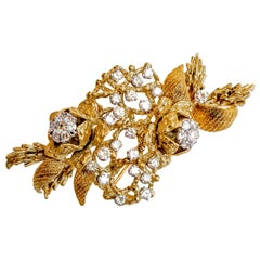 Diamond Brooch 4 Carat 18 Karat Yellow Gold Made in Italy