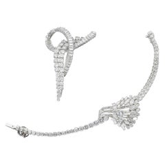 Diamond Brooch and a Diamond Bracelet '17 to 19 carats total', Set on Platinum