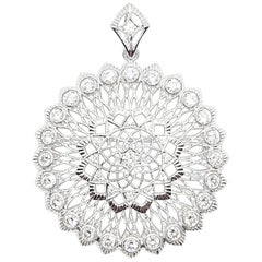 Diamond Brooch/Pendant Set in 18 Karat White Gold Settings