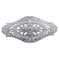 Diamond Brooch Set in 18 Karat White Gold Settings