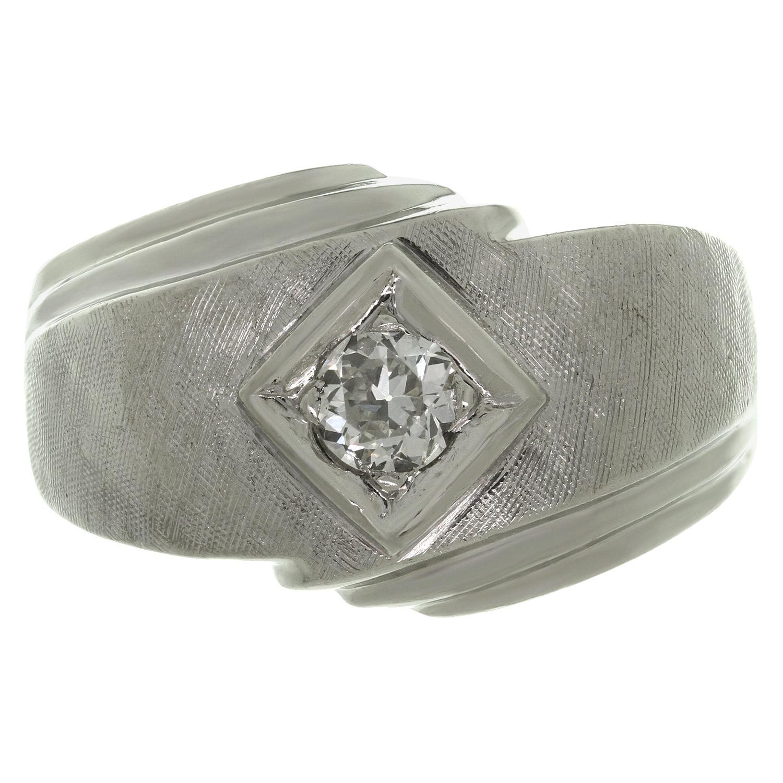 Diamond Brushed 14K White Gold Men's Ring