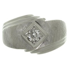 Diamond Brushed White Gold Men's Ring