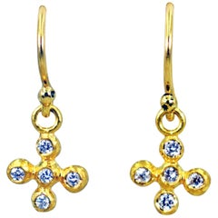 Diamond Bubble Cross 22 Karat Gold Dangle Earrings