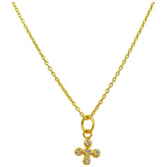 Diamond Bubble Cross 22 Karat Gold Pendant Necklace