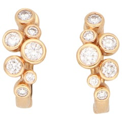 Diamond Bubble Hoop Earrings Set in 18 Karat Rose Gold