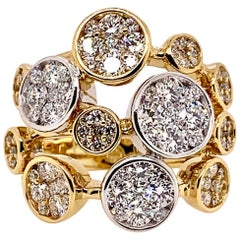 Diamond Bubbles Cocktail Ring in 18 Karat Yellow and White Gold