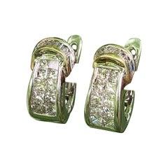 Diamond Buckle 14 Karat White Gold Pierced Earrings