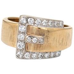 Diamond Buckle Ring Vintage 14 Karat Yellow Gold Estate Fine Jewelry Love