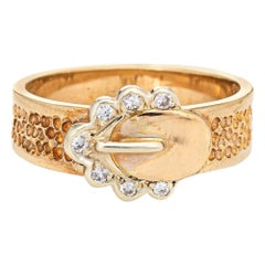 Diamond Buckle Ring Vintage 9k Yellow Gold Fine Estate Jewelry Band