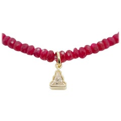 Diamond Buddha Genuine Rondelle Ruby Beaded Necklace 18 Karat Yellow Gold