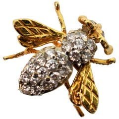 Diamond Bumble Bee Yellow Gold Pin Brooch