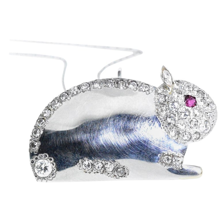Diamond Bunny Brooch or Pendant For Sale