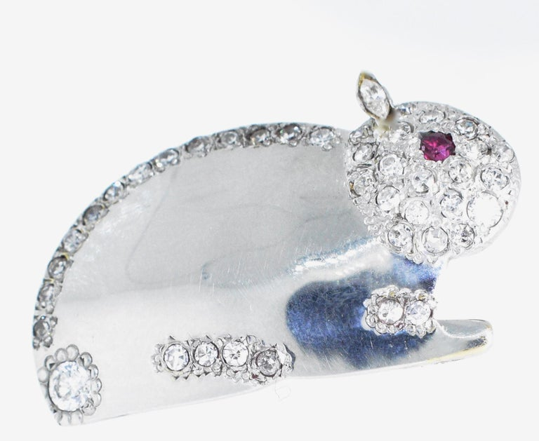 Contemporary Diamond Bunny Brooch or Pendant For Sale