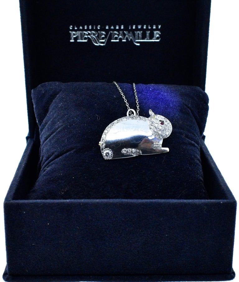 Diamond Bunny Brooch or Pendant In Excellent Condition For Sale In Aspen, CO