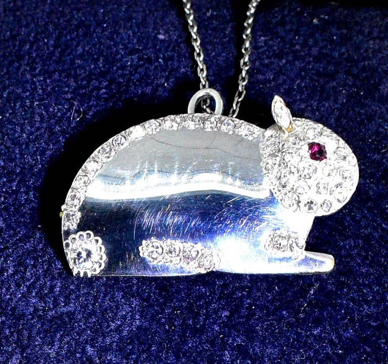 Women's or Men's Diamond Bunny Brooch or Pendant For Sale