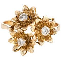 Diamond Buttercup Ring Vintage 10 Karat Gold 3 Flowers Estate Fine Jewelry