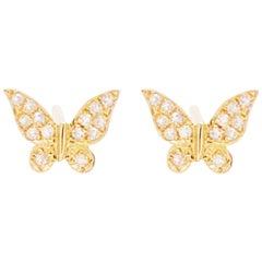 Diamond Butterfly Earrings, 14 Karat Yellow Gold Diamond Stud Earrings, Nature