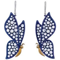 Diamond Butterfly Earrings, 4.38 Carat