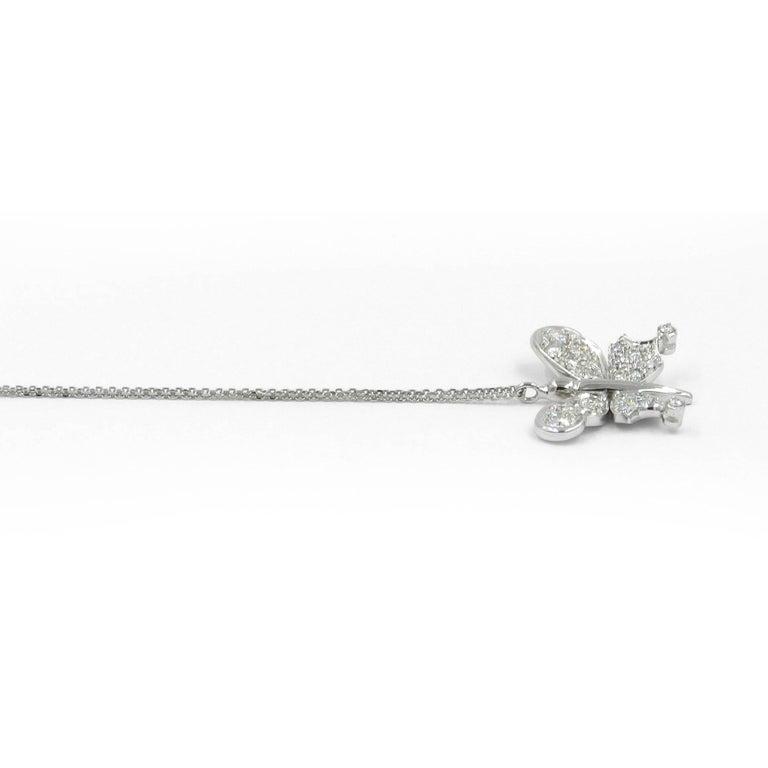 Modern Diamond Butterfly Garavelli Pendant in 18 Karat Gold For Sale
