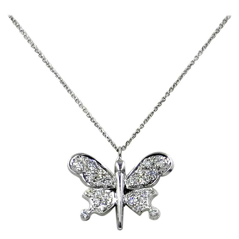Diamond Butterfly Garavelli Pendant in 18 Karat Gold For Sale