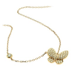 Diamond Butterfly in 18 Karat Rose Gold Necklace