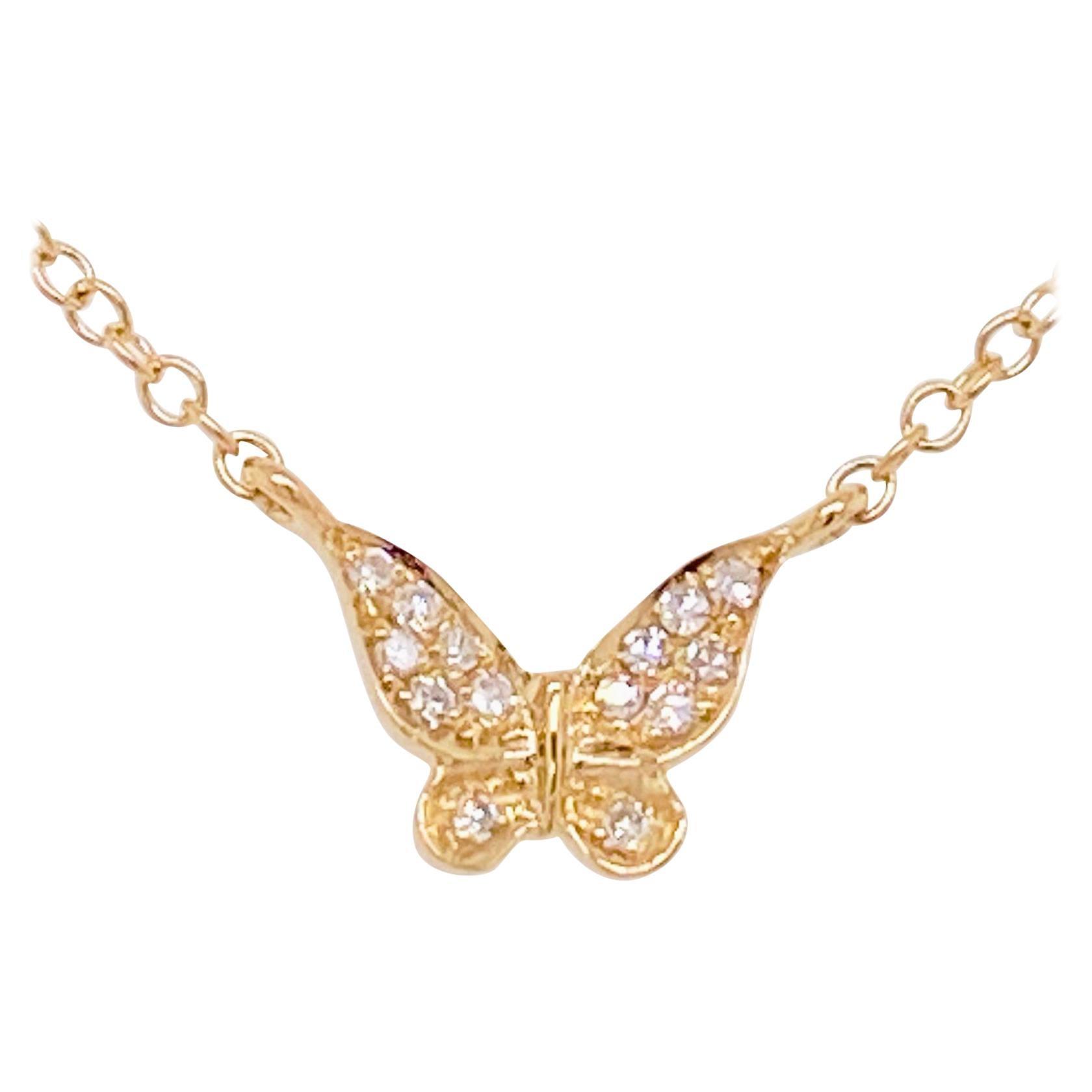 Diamond Butterfly Necklace, Minimalist Pave Butterfly Pendant, Adjustable, Gold
