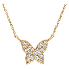 Butterfly Diamond Pendant Necklace in 18k Yellow Gold