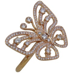 Diamond Butterfly Ring in Rose Gold - Statement / Fashion Ring