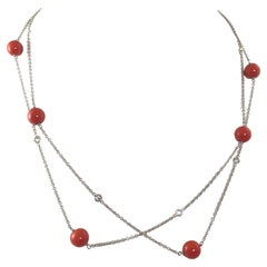 Diamond by the Yard and Coral Necklace 18k White Gold