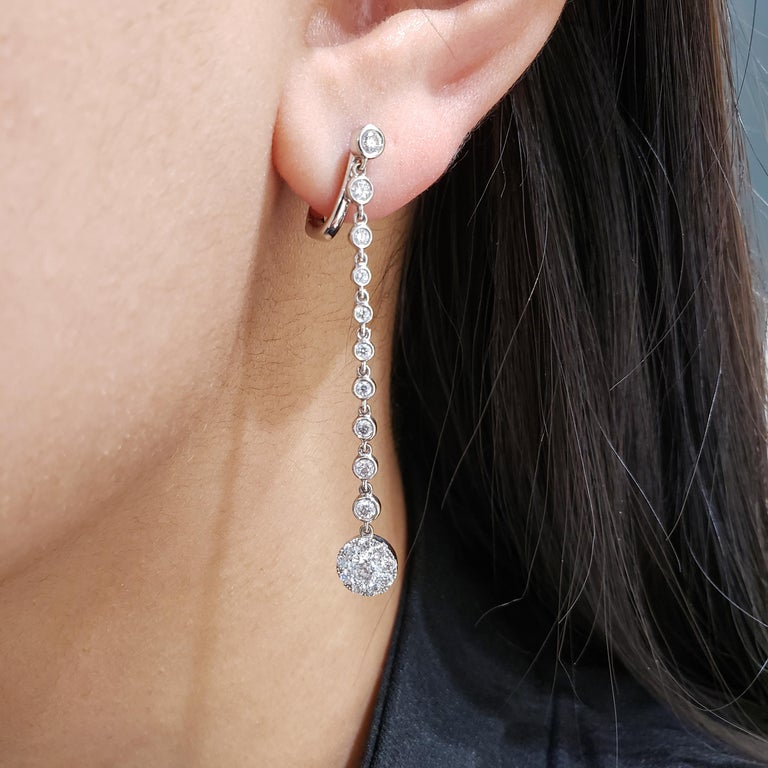 Round Cut Diamond by the Yard Dangle Drop Earrings For Sale