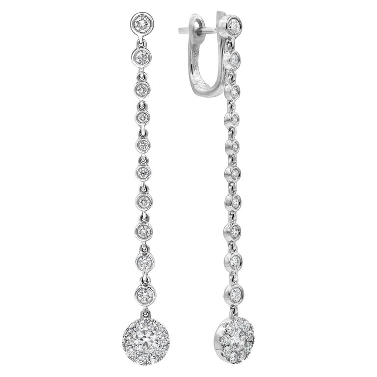 Diamond by the Yard Dangle Drop Earrings For Sale