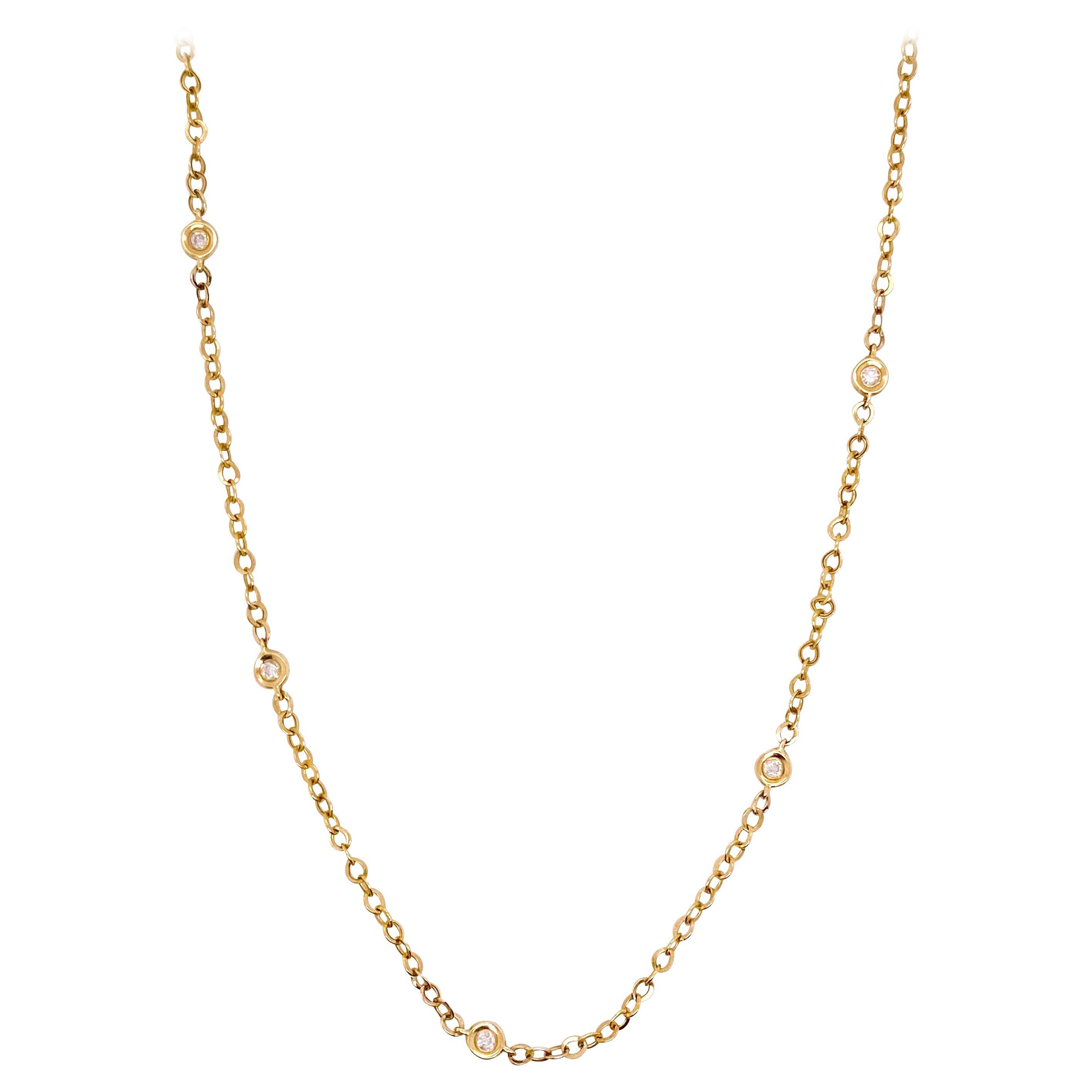 Diamond by Yard, Necklace, 7 Bezel Diamonds in Yellow Gold Diamonds by the Inch