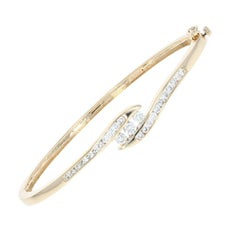 Diamond Bypass Bangle Bracelet, 14 Karat Gold Round Brilliant 1.00 Carat