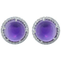 Diamond Cabochon Amethyst 18 KT White Gold Made in Italy Earrings