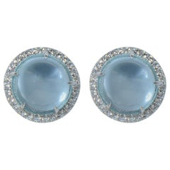 Diamond Cabochon Blue Topaz 18 Karat White Gold Earrings