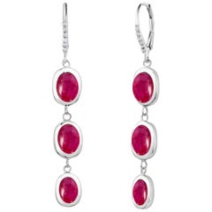 Diamond Cabochon Burma Ruby Hoop Long Earrings Weighing 10.25 Carat