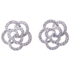 Diamond Camelia Flower Earrings
