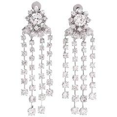 14.21 Carats Diamond Cascading Platinum Chandelier Earrings