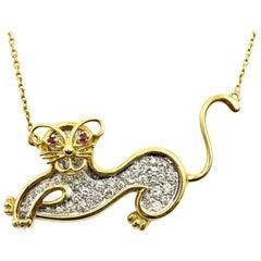 Diamond Cat Pendant on Chain 18 Karat Yellow Gold