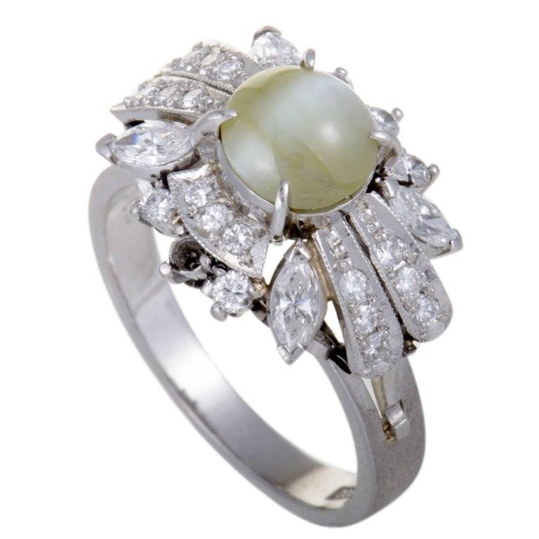Diamond Cat's Eye Cabochon Platinum Ring