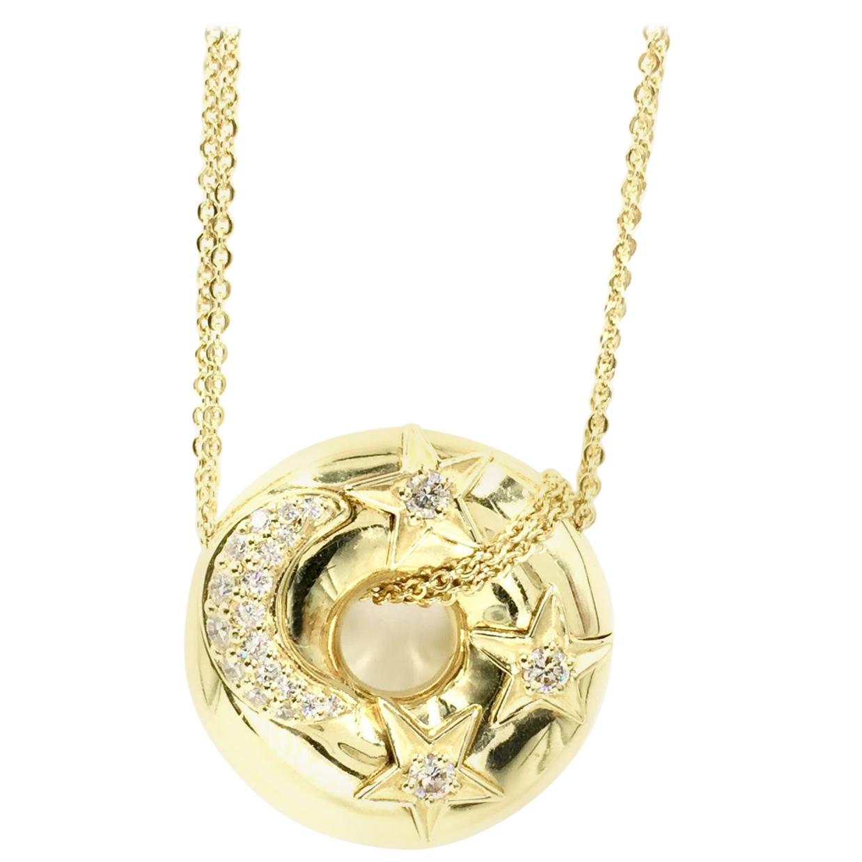Diamond Celestial 18 Karat Gold Pendant Necklace