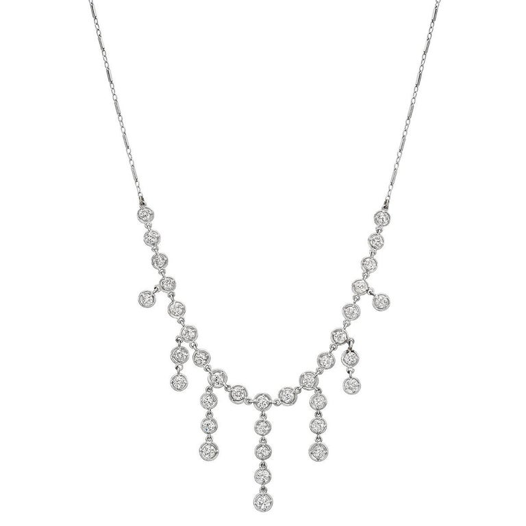 Diamond Chain Fringe Necklace, 5.2 Carat