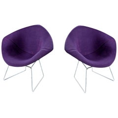Diamond Chair by Harry Bertoia for Knoll, Full Cover Plum Knoll Tweed