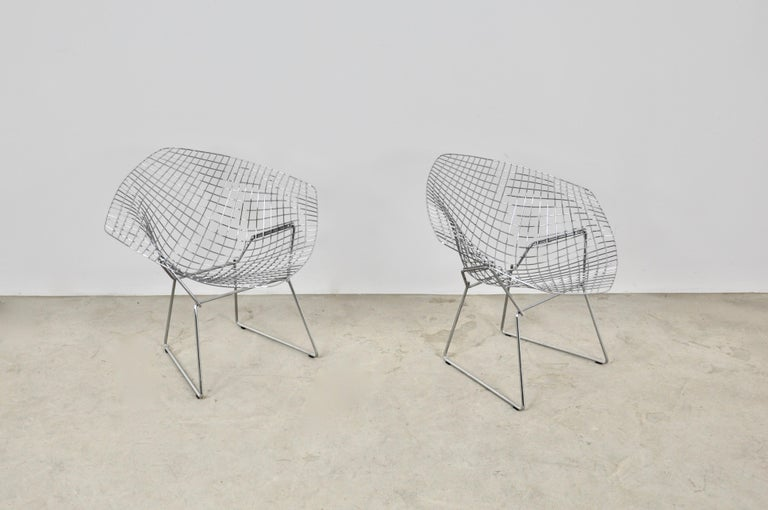 Mid-Century Modern Diamond Chairs by Harry Bertoia for Knoll, 1980s Set 2