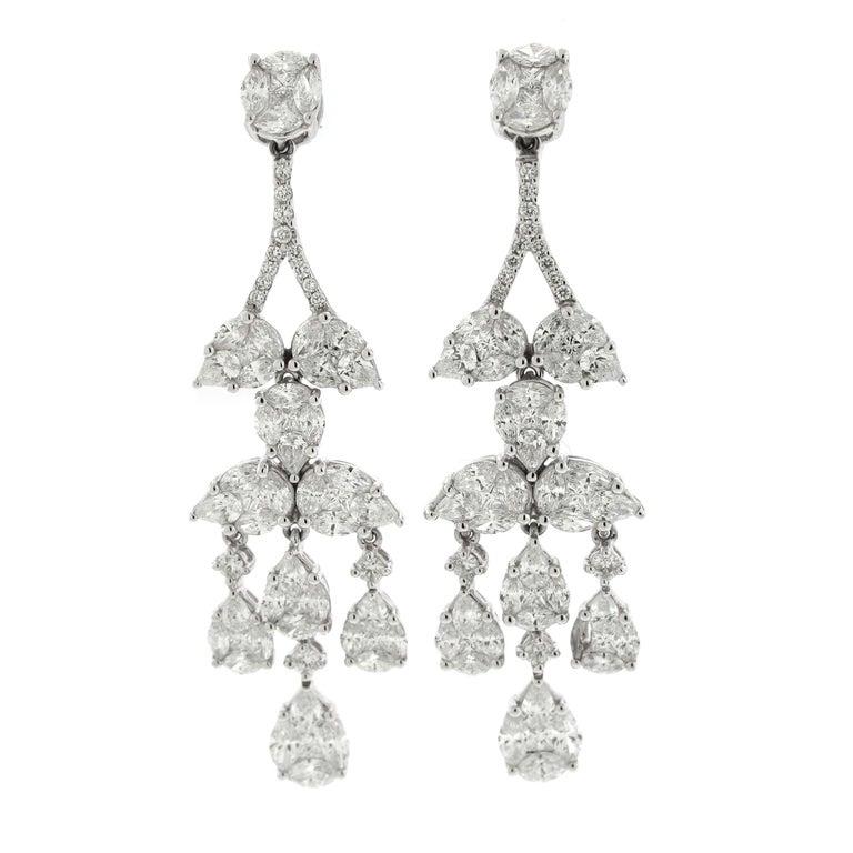 Diamond Chandelier Cluster Earrings, 18 Karat White Gold, 5.53 Carat Diamonds For Sale