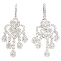 Diamond Chandelier Dangle Earrings White gold 18 Karat