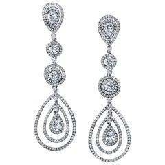 Diamond Chandelier Earrings 6.00 Carat Total Weight 18 Karat Gold GIA Certs